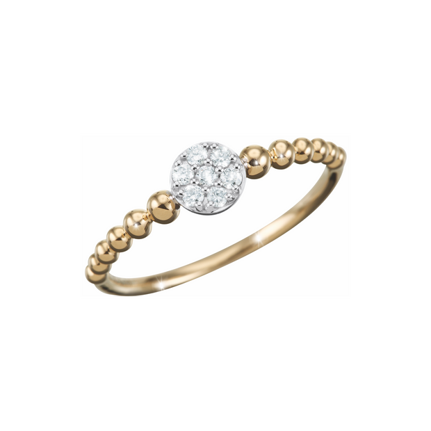 Mounted on twelve 18k yellow gold beads, the seven beautiful diamond center stones make the Oliver Heemeyer Carmen diamond ring a sparkling companion.