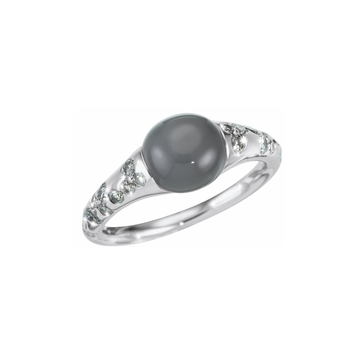 Oliver Heemeyer Moonstone diamond ring crafted in 18k white gold featuring a grey moonstone in its center. Sparkling diamonds accentuate this contemporary design.
