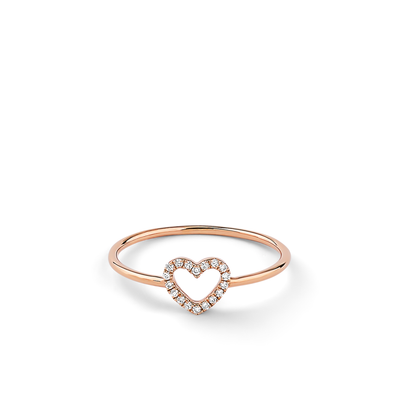 Oliver Heemeyer Open Heart diamond ring in 18k rose gold.