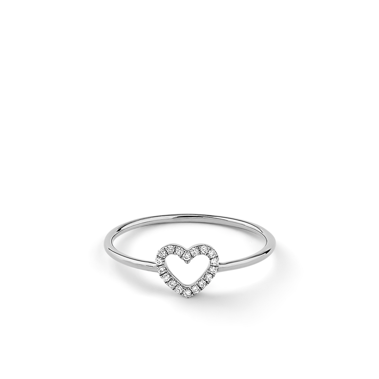 Made of 18k white gold and adorned with 16 diamonds arranged an open heart, this ring is a sparkling present for a loved one.