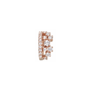 This stunningly beautiful ear cuff shines bright like a little crown.  Get yourself a bit of royal feeling with this 18k rose gold ear cuff. Carefully handcrafted by our goldsmiths and refined with 40 sparkling diamonds it is an eye catcher which cannot be missed. Front view.