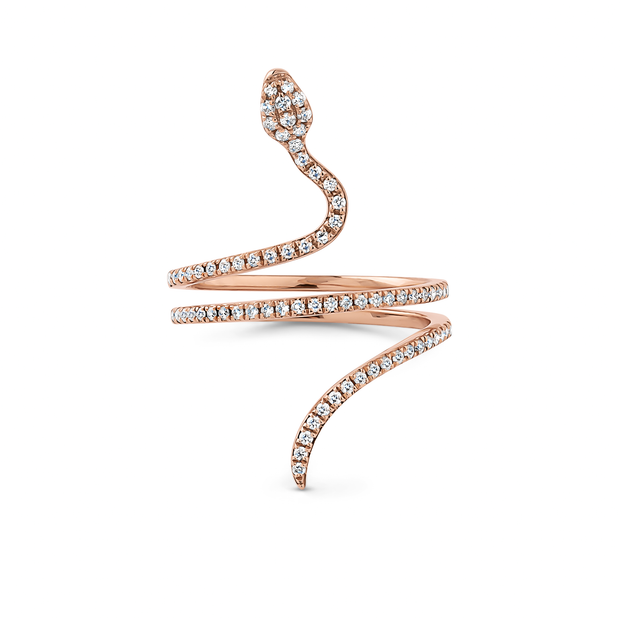 Oliver Heemeyer Snake diamond ring designed in the shape of a snake adorned with sparkling diamonds and made out of 18k rose gold. The Snake ring is truly a sophisticated piece of jewellery.