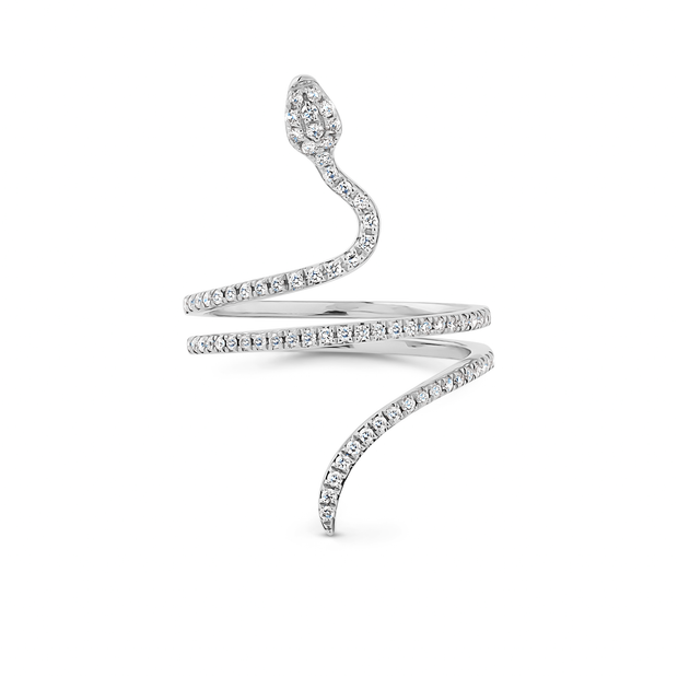 Oliver Heemeyer Snake diamond ring designed in the shape of a snake adorned with sparkling diamonds and made out of 18k white gold. The Snake ring is truly a sophisticated piece of jewellery.