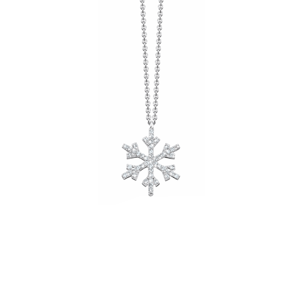 Probably the most precious snowflake ever. The Oliver Heemeyer Snowflake pendant is handcrafted and comes in 18k white gold. Set with diamonds it is sparkling present for a loved one.