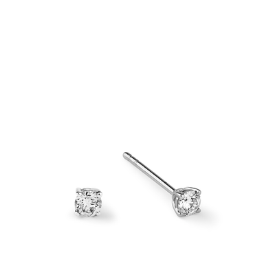 Oliver Heemeyer Solitaire Diamond Ear Studs made of 18k white gold.