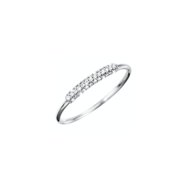 Add a discreet sparkle to your outfit with this subtle diamond ring from Oliver Heemeyer. Made of 18k white gold and refined with small sparkling diamonds.