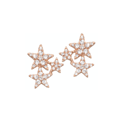 Designed in the form of sparkling stars and adorned with subtle diamonds. These adorable ear studs are carefully handcrafted and made of 18k rose gold.