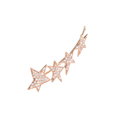Oliver Heemeyer Stars diamond ear cuff made of 18k rose gold.