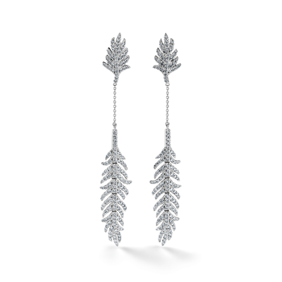 Oliver Heemeyer Swan Feather Diamond Earrings.