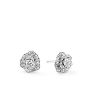 A symbol for beauty, purity and femininity. Oliver Heemeyer added its creation 102 diamonds. An exceptional beautiful pair of ear studs made of 18k white gold.