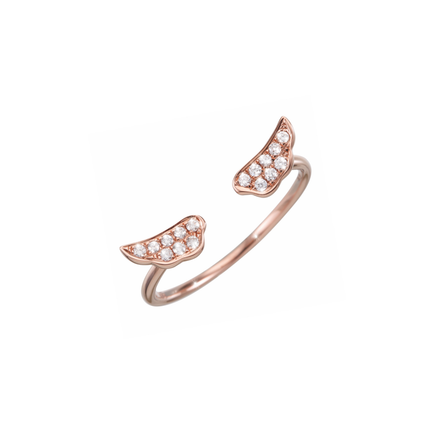 The Wings open diamond ring from Oliver Heemeyer  is a charming present for a loved one or even yourself. Handcrafted and made of 18k rose gold set with sparkling diamonds.