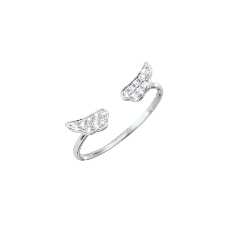 The Wings open diamond ring from Oliver Heemeyer  is a charming present for a loved one or even yourself. Handcrafted and made of 18k white gold set with sparkling diamonds.