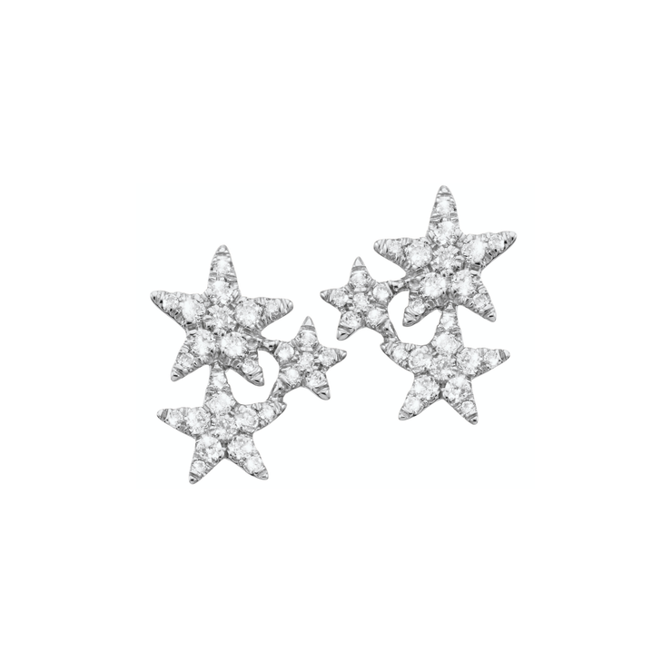 Designed in the form of sparkling stars and adorned with subtle diamonds. These adorable ear studs are carefully handcrafted and made of 18k white gold.