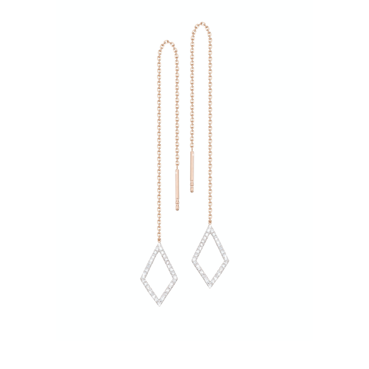 The Oliver Heemeyer Caro chain diamond earrings combine simple elegance with a contemporary design. Handcrafted and made of 18k white and rose gold set with diamonds.