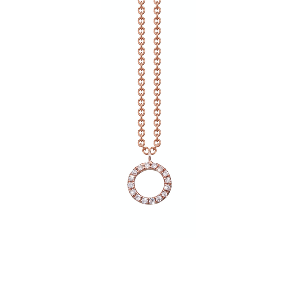 Made of 18k rose gold and set with diamonds arranged in a circular shape, the Oliver Heemeyer Circle of Life necklace add a sparkle to every outfit. Circle size small.