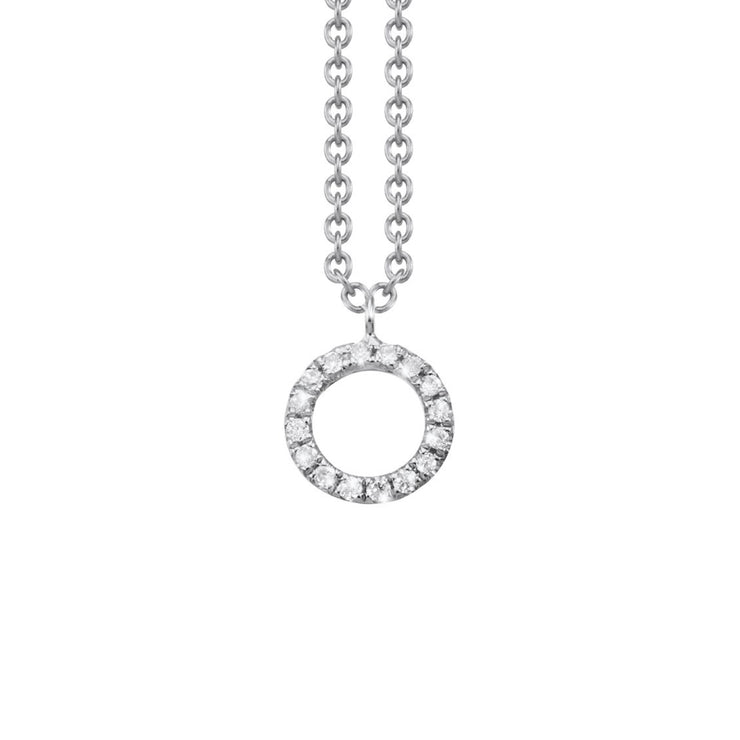 Made of 18k white gold and set with diamonds arranged in a circular shape, the Oliver Heemeyer Circle of Life necklace add a sparkle to every outfit. Circle size small.