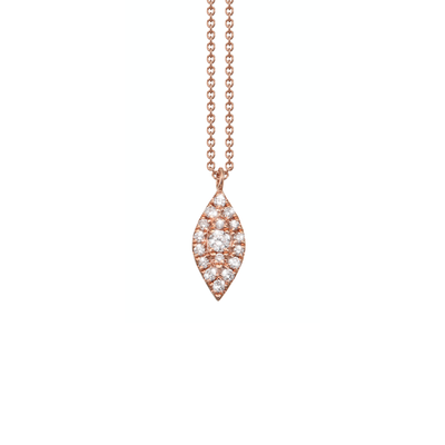 Oliver Heemeyer Mia diamond pendant made of 18k rose gold crafted with a larger centered diamond surrounded by 17 smaller diamonds.