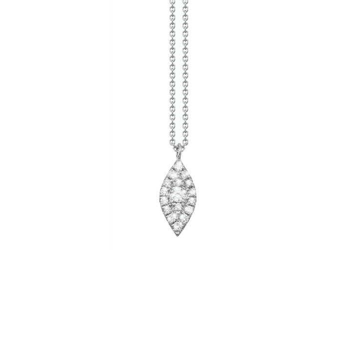 Oliver Heemeyer Mia diamond pendant made of 18k white gold crafted with a larger centered diamond surrounded by 17 smaller diamonds.