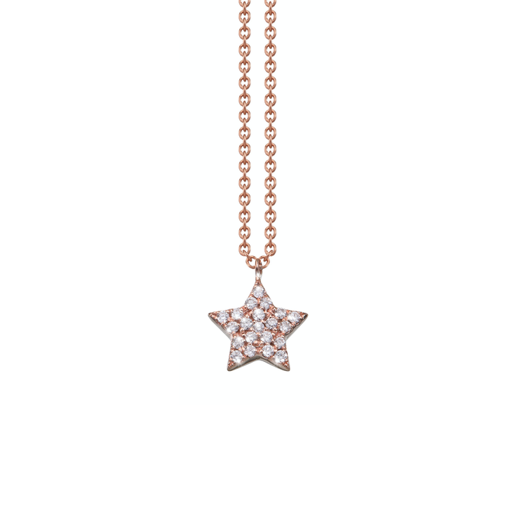 Oliver Heemeyer 18k rose gold Emilia Stella pendant finished with 21 sparkling diamonds and arranged with highest attention to detail.