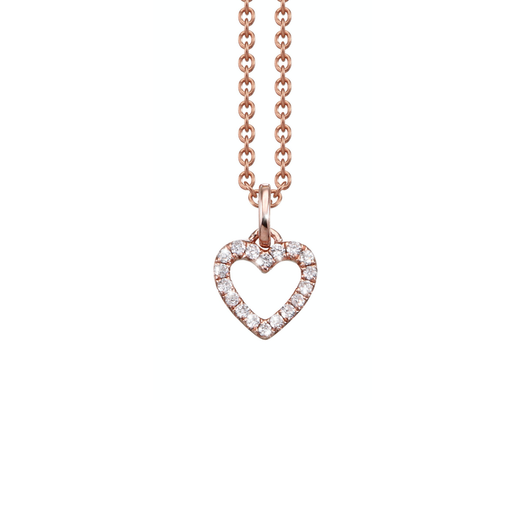 Oliver Heemeyer Open Heart diamond pendant designed in 18k rose gold and adorned with 18 sparkling diamonds. This necklace makes a beautiful present for a loved one.