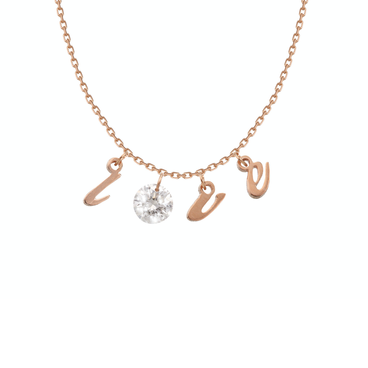 "Oliver Heemeyer Mark the Moment Love diamond necklace crafted in 18k rose gold literally carrying love with a single ""flying"" diamond."