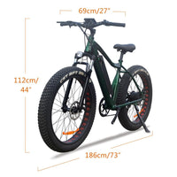 VTUVIA 26 * 4.0'' Fat tire Mountain Electric bicycle 36V Li-ion battery 350W Brushless Motor E Bike 50km Long Distance Ebike