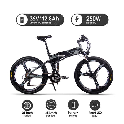 RICH BIT RT-860 26 Inch Electric Folding Bike with Removable Large Capacity Lithium-Ion Battery 36V 250W Electric BikeSmart LCD Meter 27 Speed