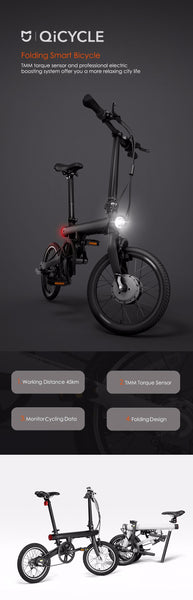 Original Xiaomi QiCYCLE EF1 Smart Folding Electric Bike Bicycle Bluetooth Max 20km per Hour