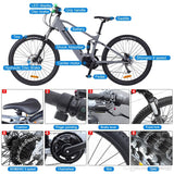 27.5 inch 43V 500W Electric Bicycle 9 Speed Electric Bike Disc Brake Center Shock Absorber Bike Electric Bicycle with Hidden Lithium Battery