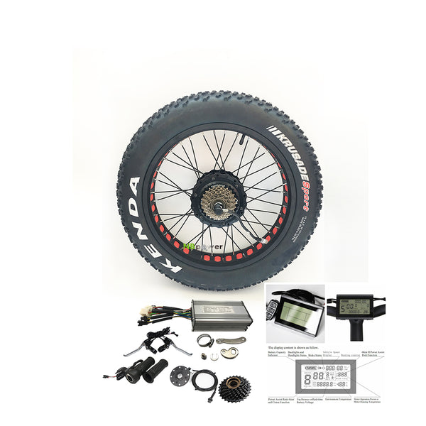 8fun BAFANG 48V 500W Front Rear Wheel Hub Assembly Motor Kit Electric Bike Conversion Kit For 20X4.0 26X4.0