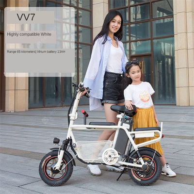 Parent Child Electric Car Child Mother-daughter Double Folding Lightweight Adult Mini Small Mobility Electric Folding Bike Electrical Motorbike