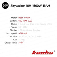 kaabo Skywalker 10H single drive 10inch tire foldable electric scooter 800W 1500w easy-smart-way.myshopify.com
