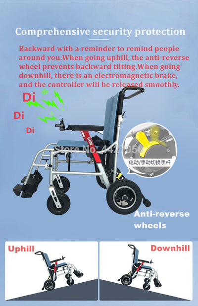 2019 N/W:  15kg  lithium battery intelligent folding electric wheelchair Loading capacity 120KG