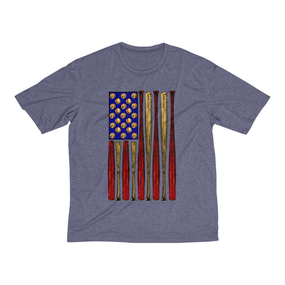 Baseball American Flag-Vertical Men's Heather Dri-Fit Tee