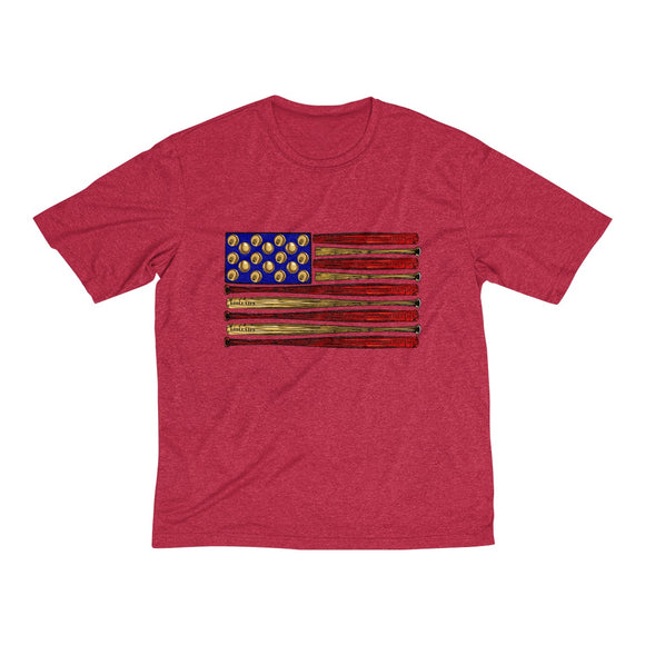 Baseball American Flag-Horizontal Men's Heather Dri-Fit Tee