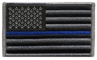 US Flag Patch, Grey/Black with Blueline