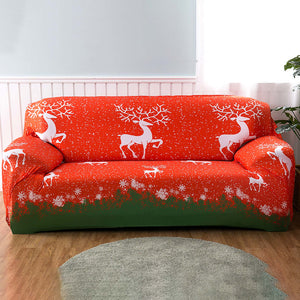 Christmas Reindeer Red Sofa Cover