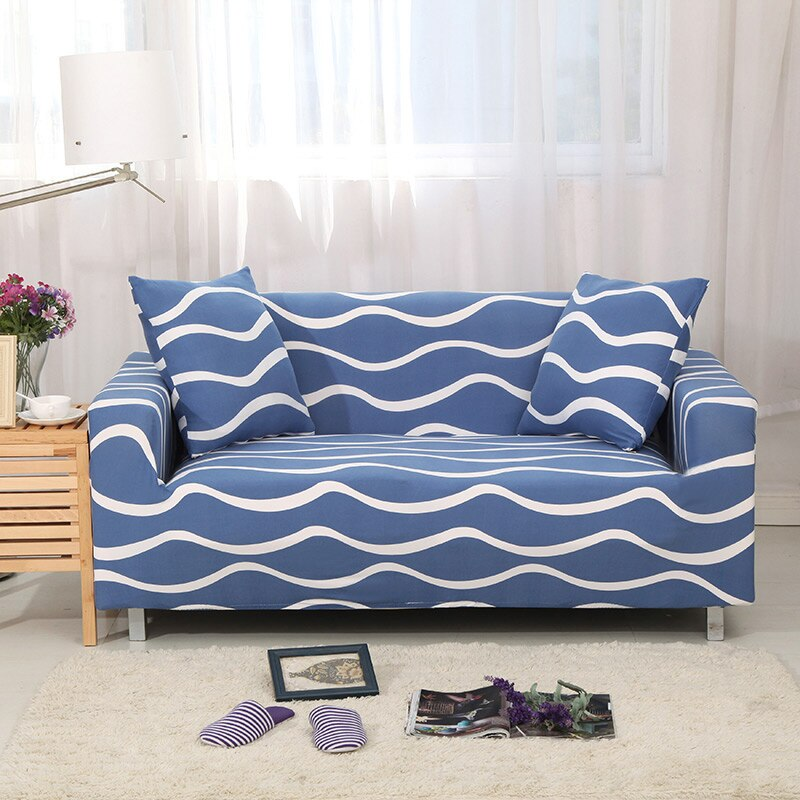 Wave Blue Sofa Cover
