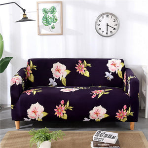 Flowers Deep Blue Sofa Cover