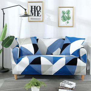 Triangle Blue Sofa Cover