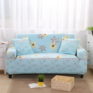 Flowers Aqua Blue Sofa Cover