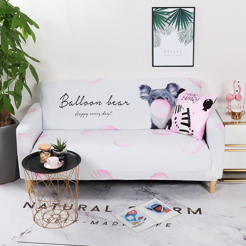 Balloon Bear Blue Sofa Cover