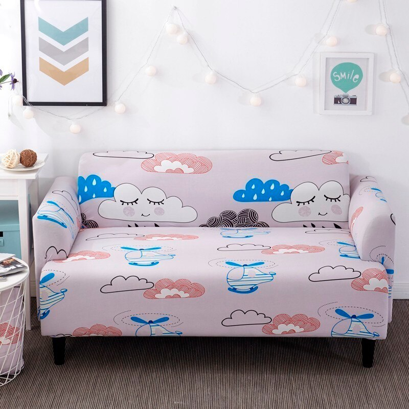 Clouds Pink Sofa Cover