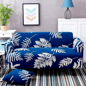 Palm Leaf Royal Blue Sofa Cover