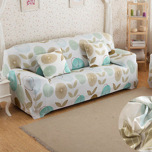 Flowers & Leaves Cream Sofa Cover