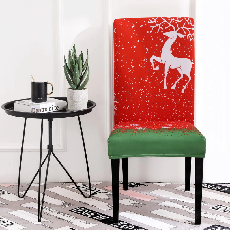 Christmas Reindeer Red Chair Cover