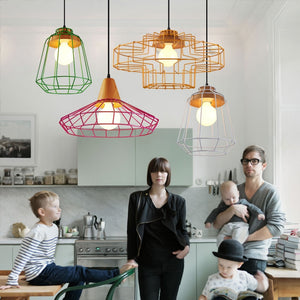 Modern Nordic Wrought Iron Hanging Cage Lamp