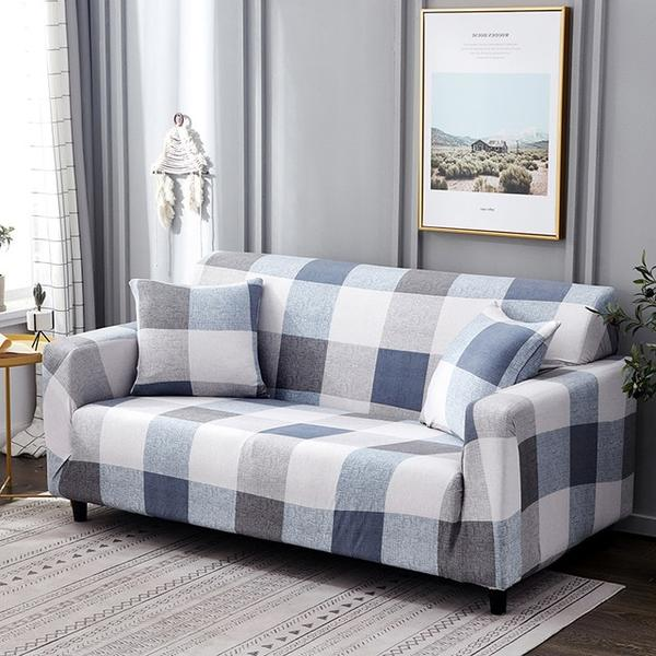 Lola Blue Check Sofa Cover