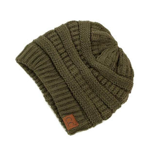 C.C. Thick Slouchy Knit Beanie Cap Hat in Olive Green