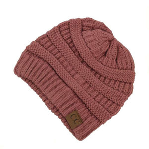 C.C. Thick Slouchy Knit Beanie Cap Hat in Mauve